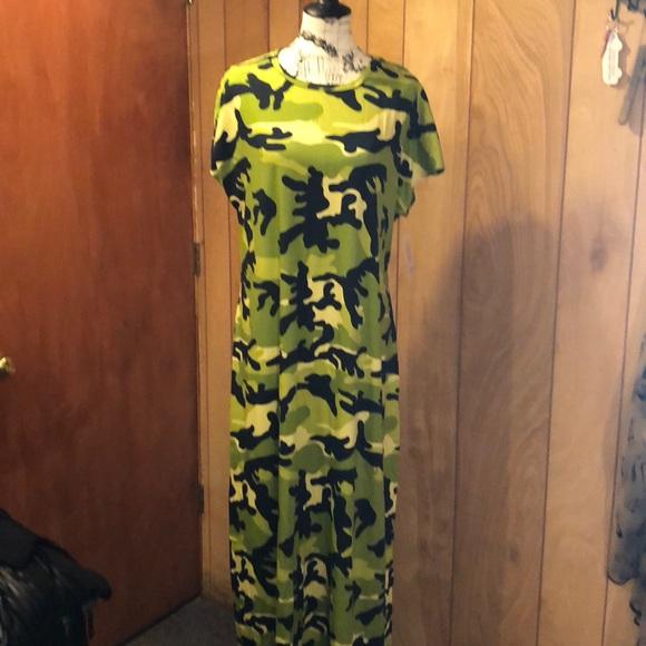 5e291274c5b87 LuLaRoe Dresses | Nwt Vhtf Maria Maxi Dress Size 2xl Camo | Poshmark